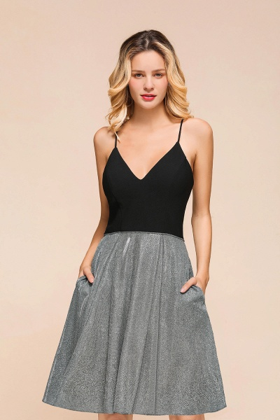 Spaghetti Strap Criss Cross A-line Short Prom Dress_7