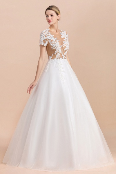 Chic Lace Tulle A-line Short Sleeve Wedding Dress_7