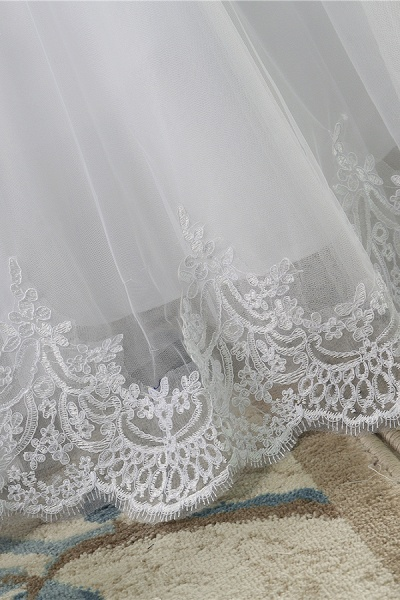 Latest Lace-up Tulle Appliques A-line Wedding Dress_7