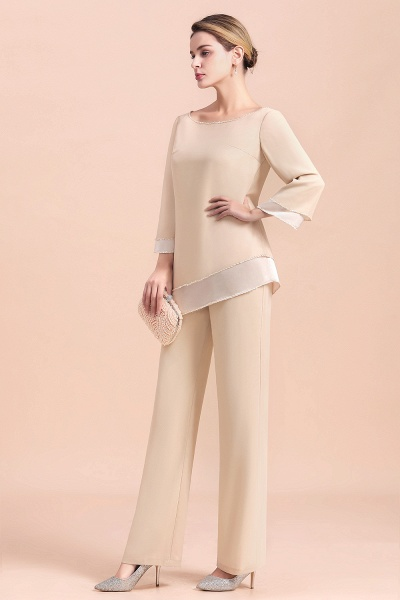 Chic Champagne Chiffon Long Sleeve Mother of Bride Jumpsuit_10