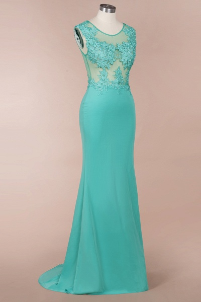 Lace appliques Mint Green Round Neck Cap sleeve Prom Dress_3