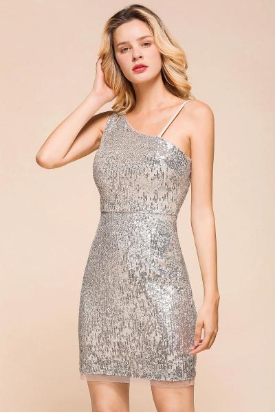 Affordable One Shoulder Sheath Short Prom Dress_6