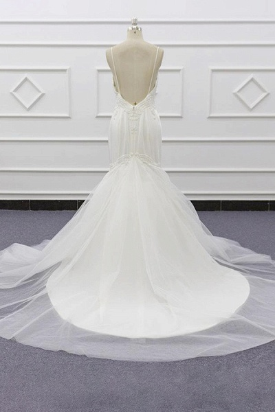 Chic Spaghetti Strap Beading Mermaid Wedding Dress_3