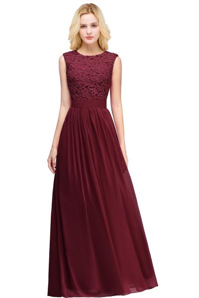 Sheath Crew Sleeveless Floor-length Lace Top Chiffon Bridesmaid Dresses_5
