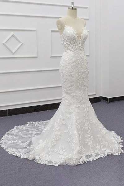 Best Spaghetti Strap Appliques Mermaid Wedding Dress_4