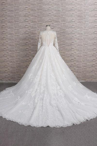 Graceful V-neck Long Sleeve Appliques Wedding Dress_3