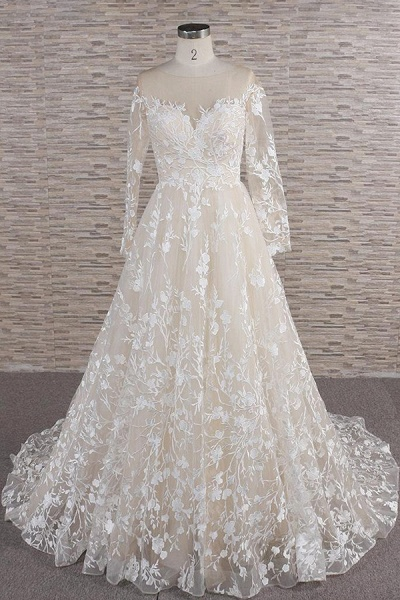 Illusion Long Sleeve Applqiues Tulle Wedding Dress_1