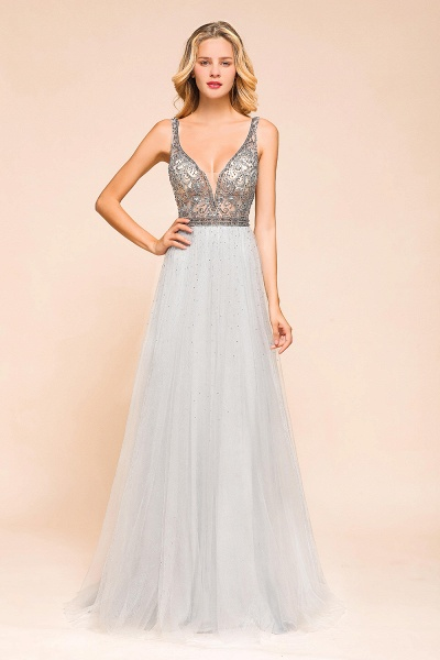 Latest Beading V-Neck Tulle Floor Length Prom Dress_1