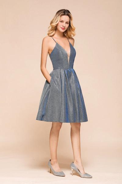 Glitter Spaghetti Strap A-line Short Prom Dress_6