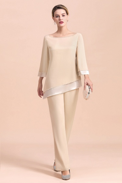Chic Champagne Chiffon Long Sleeve Mother of Bride Jumpsuit_4