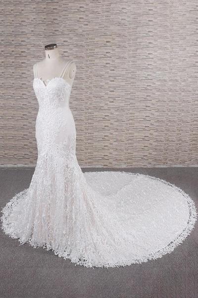 Chic Spaghetti Strap Appliques Mermaid Wedding Dress_4