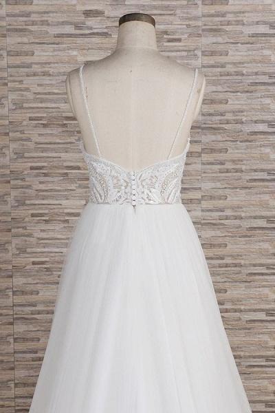 Chic Spaghetti Strap Appliques Tulle Wedding Dress_7