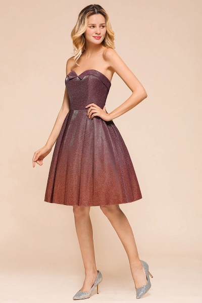 Ombre Sweetheart Backless Short A Line Prom Dress_4