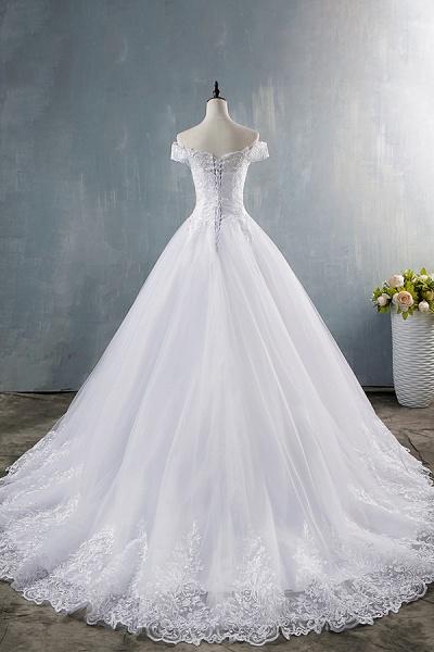 Elegant Appliques Lace Tulle A-line Wedding Dress_3
