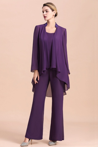 Straps Beading Grape Chiffon Long Sleeve Mother of Bride Jumpsuit With Wrap_1