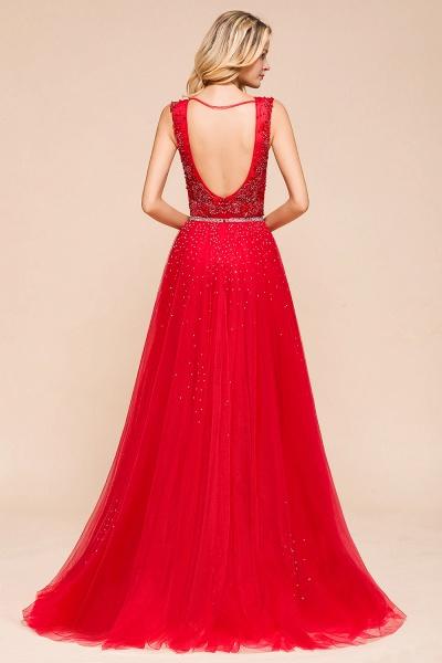 Detachable Deep V-Neck Sleeveless Beadings Tulle Prom Dress_3