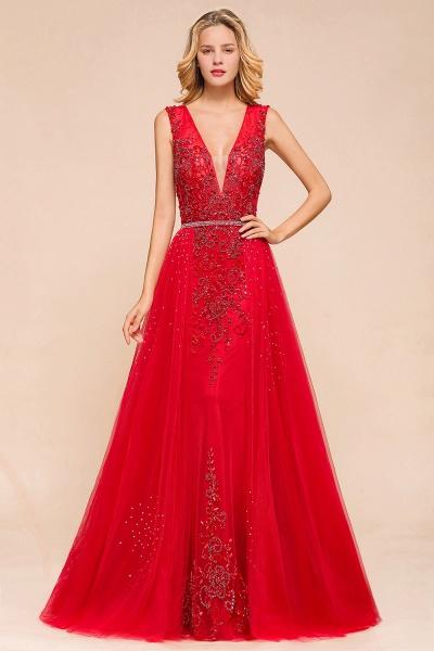 Detachable Deep V-Neck Sleeveless Beadings Tulle Prom Dress_1