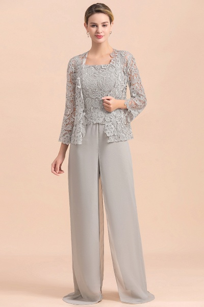 Chic Silver Lace Chiffon Long Sleeve Mother of Bride Jumpsuit With Wrap