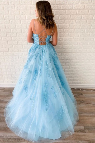 BC3627 A-line Lace Beaded Spagheitt Straps Evening Prom Dresses | Evening Party Prom Dresses_2