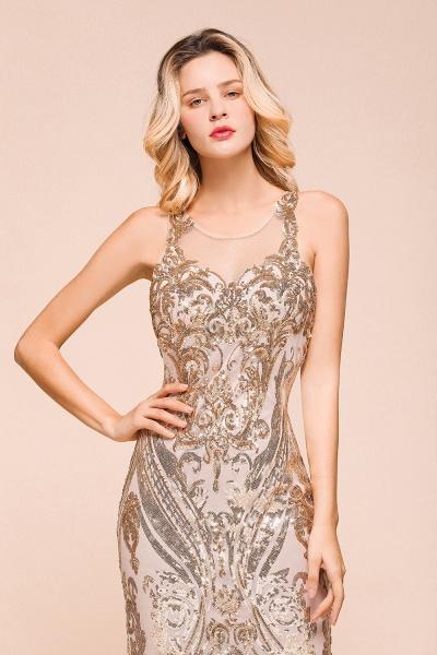 Amazing Illusion Sequins Tulle Mermaid Prom Dress_9