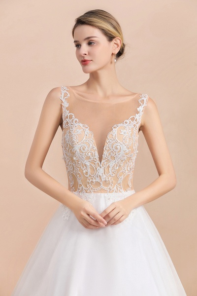 Graceful Illusion Lace Tulle A-line Wedding Dress_9