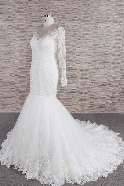 Graceful Appliques Long Sleeve Mermaid Wedding Dress_4