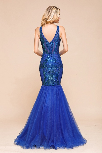 Gorgeous V-neck Open Back Sequins Mermaid Prom Dress_3