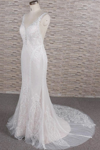 Latest V-neck Appliques Tulle Mermaid Wedding Dress_4