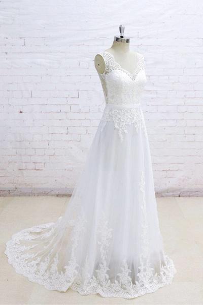 Graceful Appliques V-neck Tulle A-line Wedding Dress_4