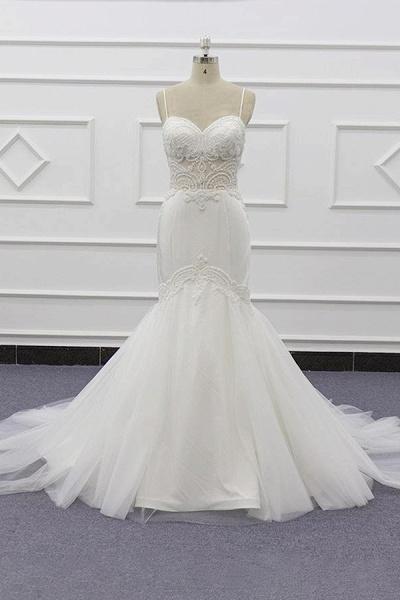 Chic Spaghetti Strap Beading Mermaid Wedding Dress_1