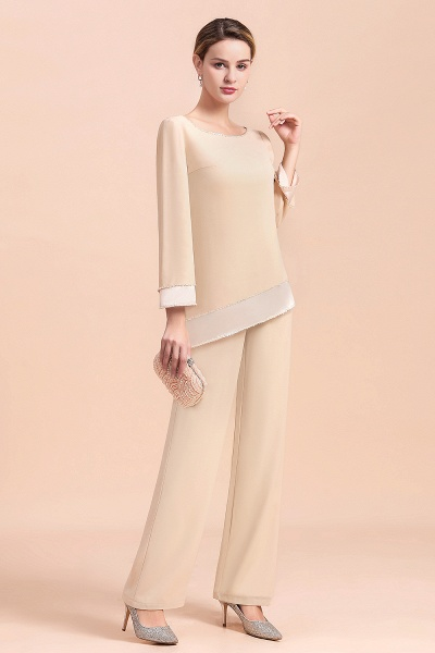 Chic Champagne Chiffon Long Sleeve Mother of Bride Jumpsuit_11