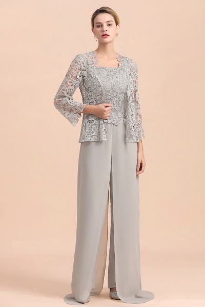 Chic Silver Lace Chiffon Long Sleeve Mother of Bride Jumpsuit With Wrap_4