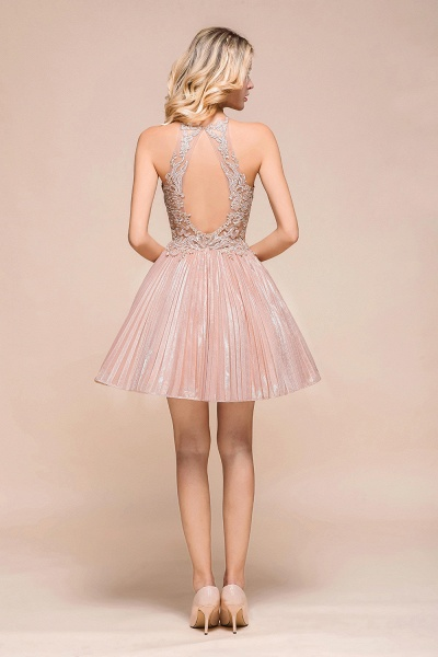Cute Pleated Lace Appliques A-line Short Prom Dress_3