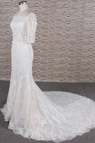 Awesome Appliques Court Train Mermaid Wedding Dress_4
