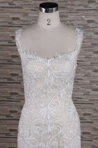 Sleek Square Neck Appliques Mermaid Wedding Dress_4