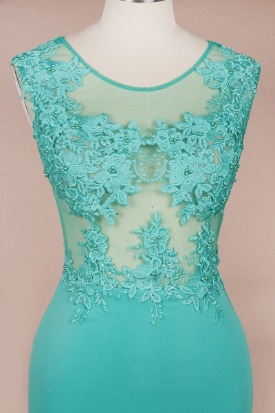 Lace appliques Mint Green Round Neck Cap sleeve Prom Dress_8