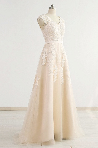 Chic V-neck Appliques A-line Tulle Wedding Dress_4