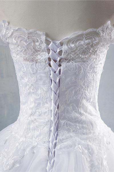 Elegant Appliques Lace Tulle A-line Wedding Dress_6