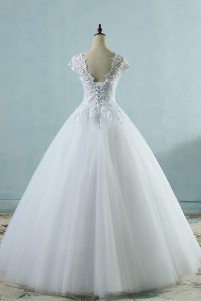Appliques Cap Sleeve Tulle A-line Wedding Dress_3