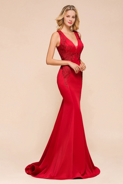 Stunning V-neck Lace Appliques Mermaid Prom Dress_7