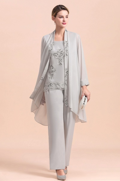 Glamorous Appliques Sleeveless Silver Chiffon Mother of Bride Jumpsuit With Wrap_5