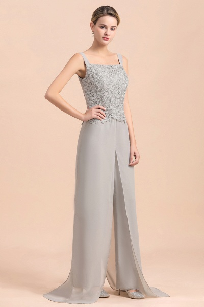 Chic Silver Lace Chiffon Long Sleeve Mother of Bride Jumpsuit With Wrap_9