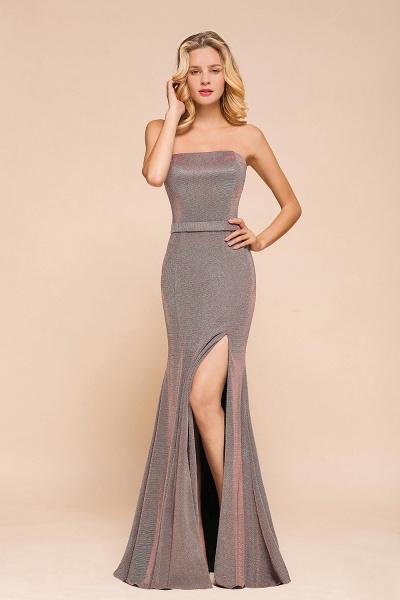 Elegant Strapless Front Split Mermaid Prom Dress_5
