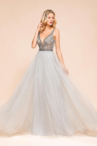 Latest Beading V-Neck Tulle Floor Length Prom Dress_7