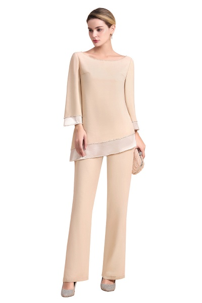 Chic Champagne Chiffon Long Sleeve Mother of Bride Jumpsuit_7