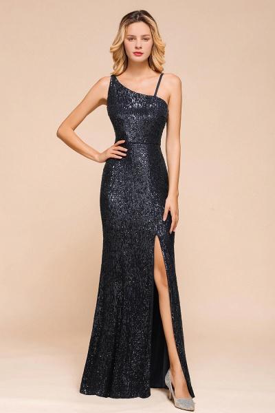 Sleek One Shoulder Split Sequins Mermaid Prom Dress_1