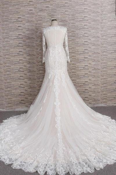 Chic Long Sleeve Appliques Mermaid Wedding Dress_3
