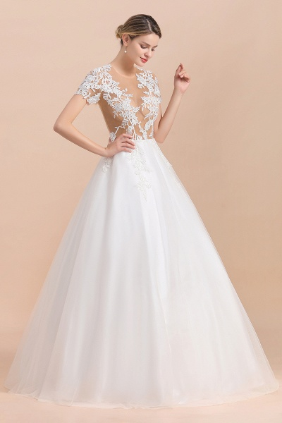 Chic Lace Tulle A-line Short Sleeve Wedding Dress_4