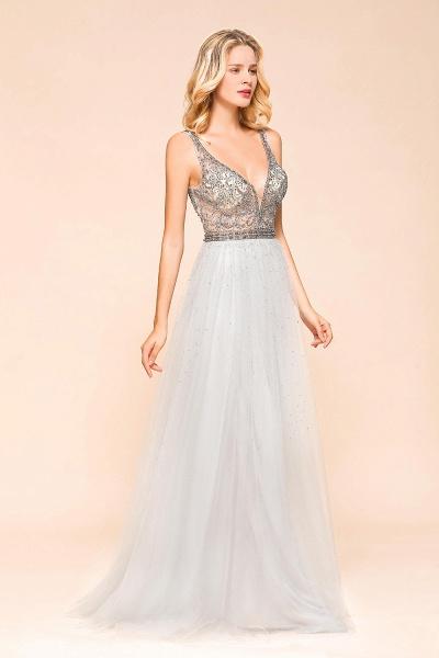Latest Beading V-Neck Tulle Floor Length Prom Dress_4
