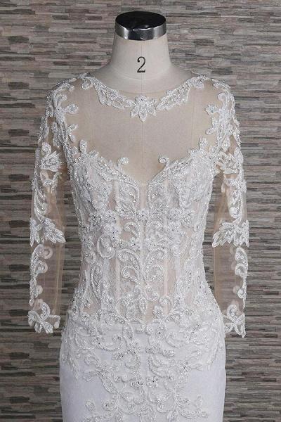 Beading Appliques Long Sleeve Mermaid Wedding Dress_4